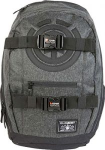 Element Young Men's Mohave Skate Backpack With Straps and Laptop Sleeve Accessory, black grid heather, ONE