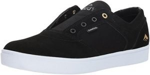 Emerica Men's Figgy Dose Skate Shoe, Black/White/Gold, 7.5 Medium US
