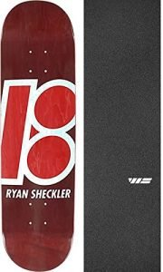 "Plan B Skateboards Ryan Sheckler Stained Red Skateboard Deck - 8.12"" x 31.75"" with Jessup WS Die-Cut Griptape - Bundle of 2 items"