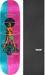 "Real Skateboards Zion Wright Queen Split Teal/Pink Skateboard Deck - 8.06"" x 32"" with Jessup WS Die-Cut Griptape - Bundle of 2 items"