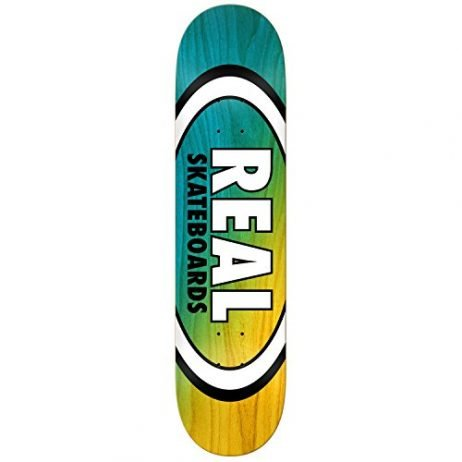 Real Skateboard Deck Angle Dip Oval Blue/Yellow 8.25″