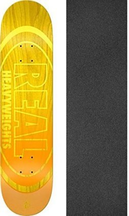 "Real Skateboards Heavyweights Yellow/Orange Skateboard Deck - 8.25"" x 32"" with Mob Grip Perforated Griptape - Bundle of 2 items"