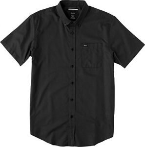RVCA Men's That'll Do Oxford Short Sleeve Woven Shirt, Pirate Black, Medium