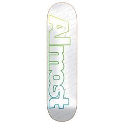 Almost Skateboard Deck Faded Outline White 7.75""