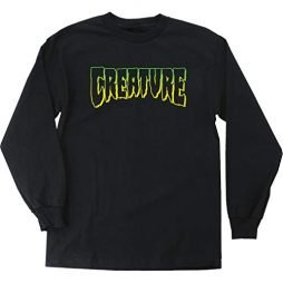 Creature Skateboards Logo Outline Black Men's Long Sleeve T-Shirt – Large