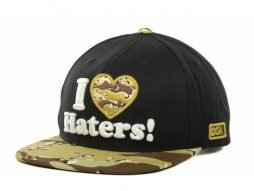 Dgk Dirty Ghetto Kids I Love Haters Black/Tan-Brown /Camo Flat brim Adjustable Snapback