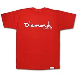 Diamond Supply Co. OG SCRIPT Red White Off White Print S/S Men's T-Shirt