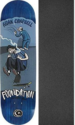 "Foundation Skateboards Campbell Student Skateboard Deck - 8.38"" x 31.5"" with Mob Grip Perforated Black Griptape - Bundle of 2 Items"