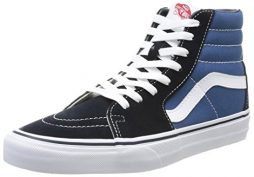 VANS Sk8-Hi Unisex Casual High-Top Skate Shoes, Comfortable and Durable in Signature Waffle Rubber Sole, Navy/White, 14…